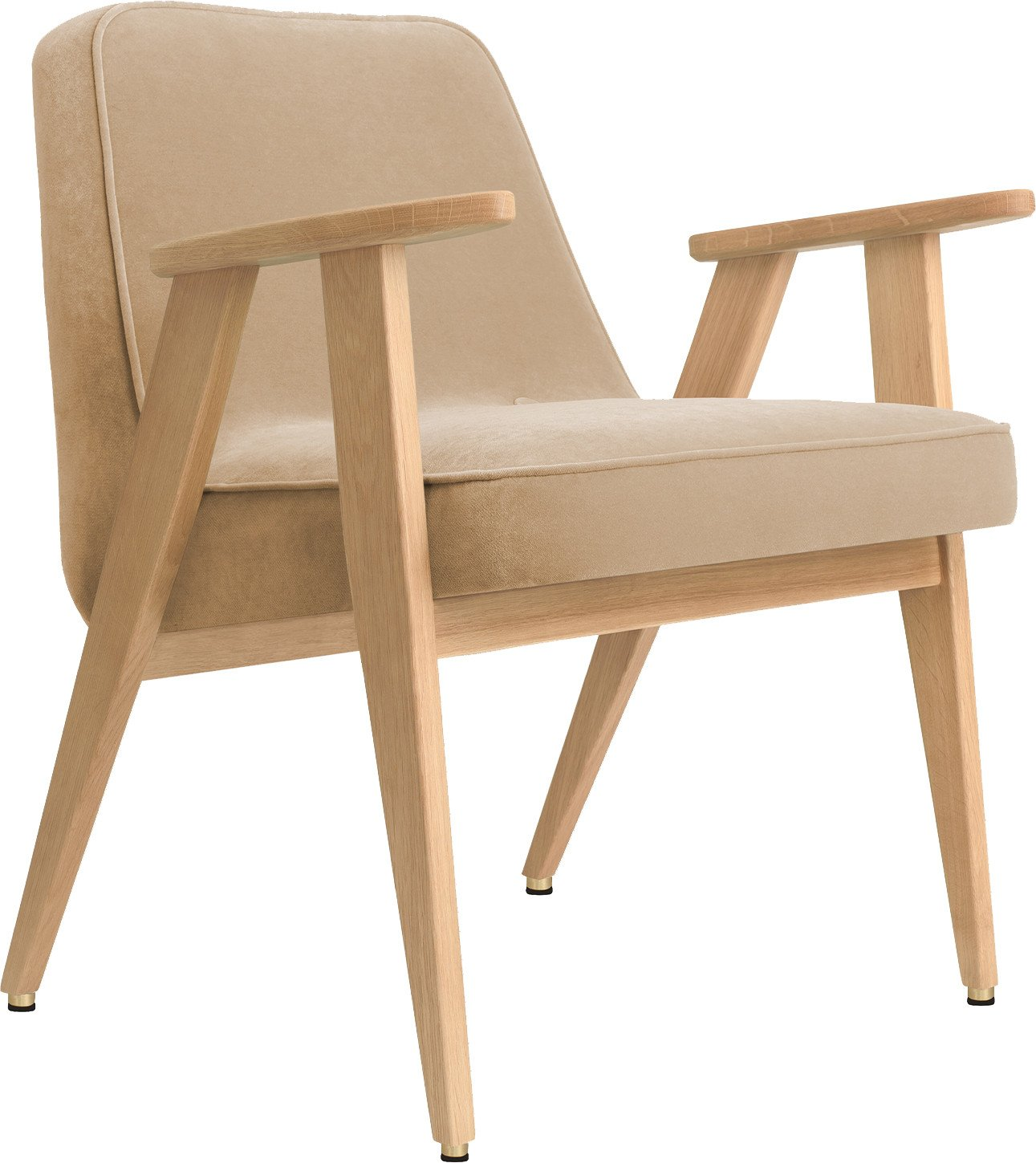 366 Plus Armchair Velvet Sand (natural oak) by Józef Chierowski