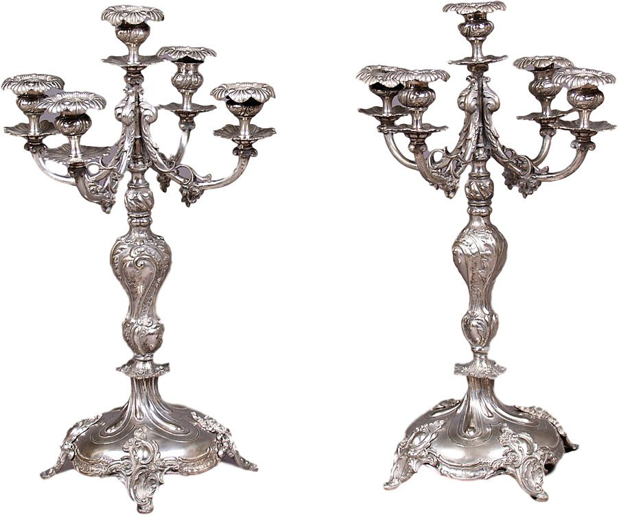 Pair of Candleholders, Poland, 19th C.