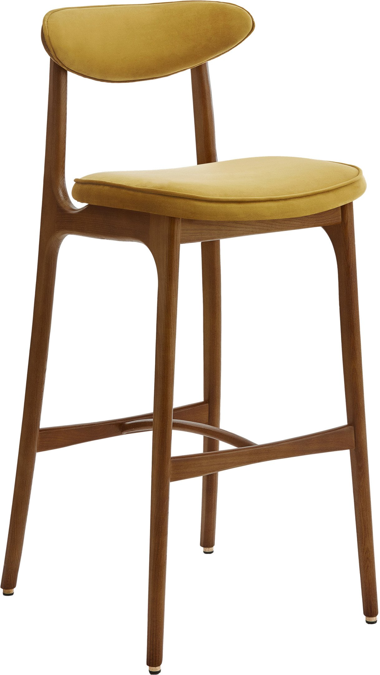 200-190 Bar Stool 75 Shine Velvet Mustard, 366 Concept