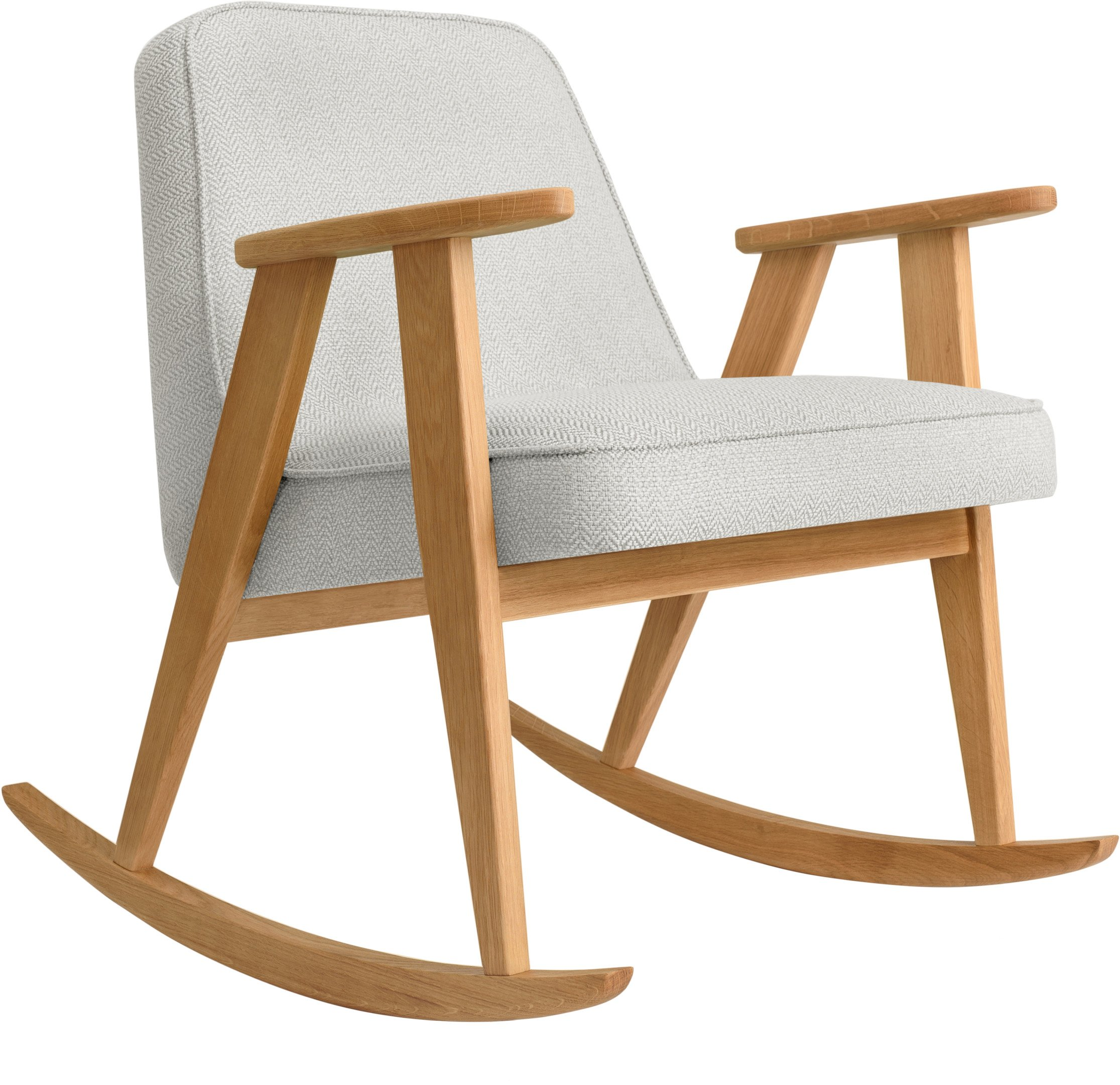 366 Rocking Chair Tweed White (natural oak) by Józef Chierowski