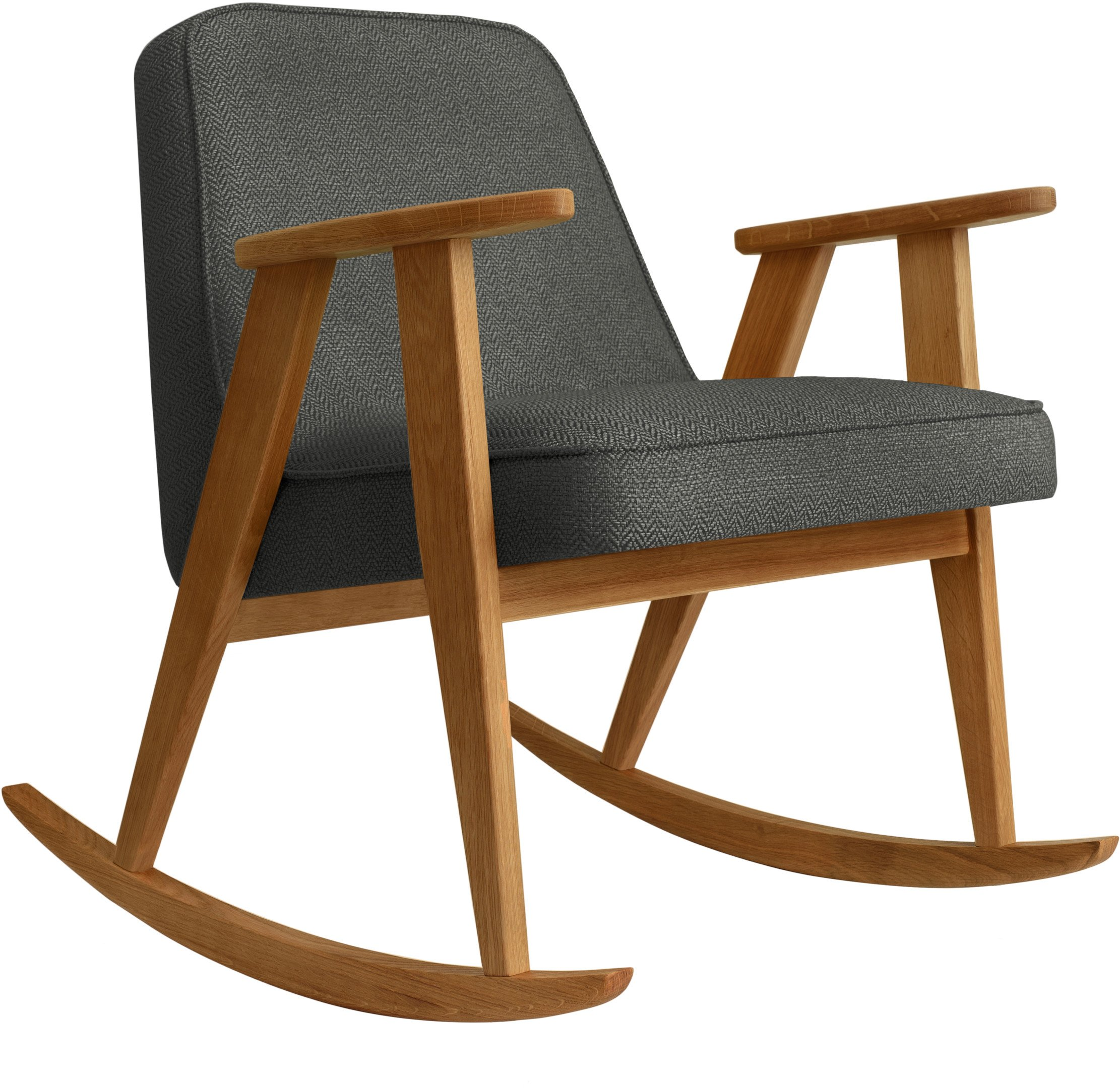 366 Rocking Chair Tweed Black (dark oak) by Józef Chierowski