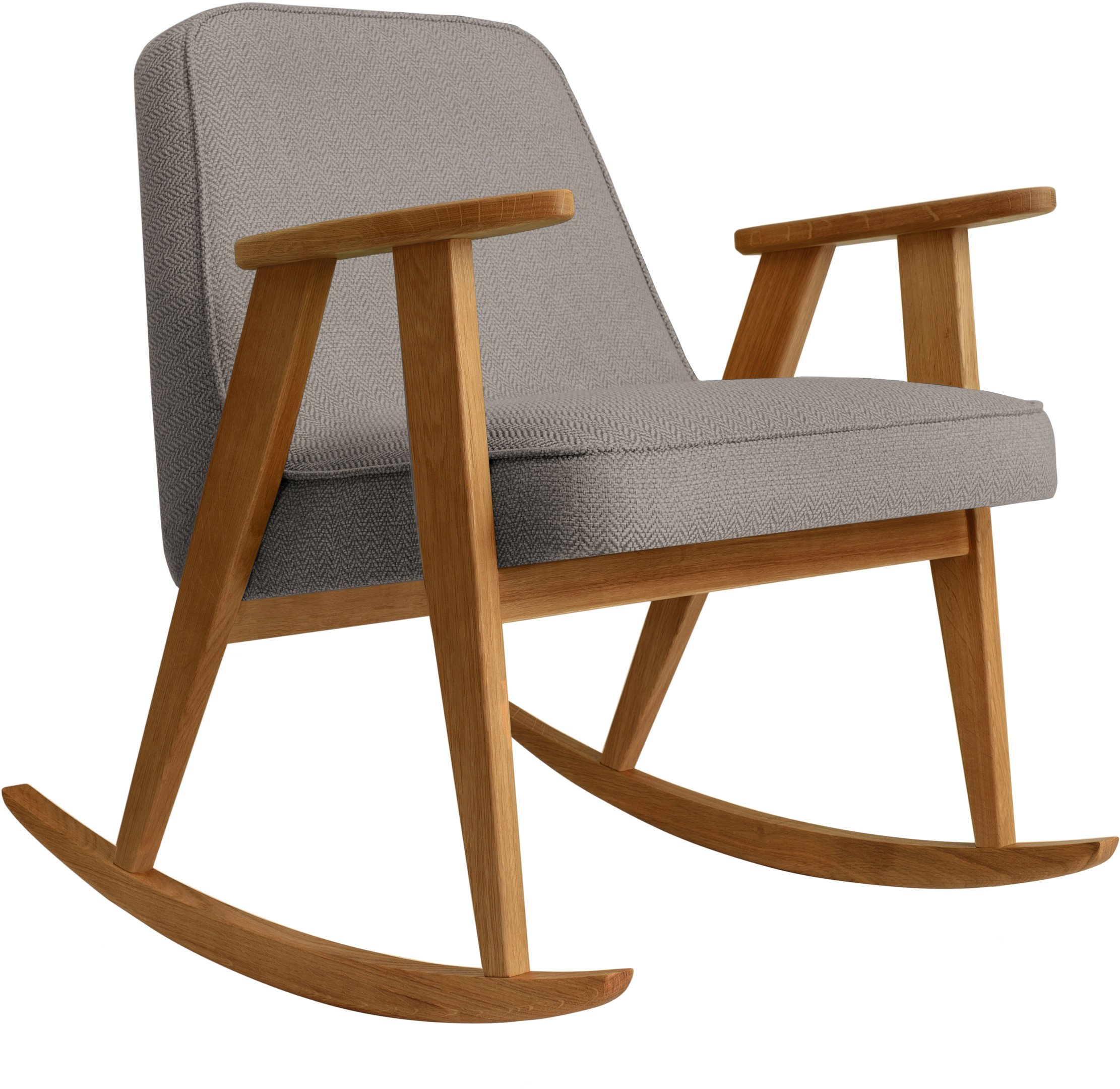 366 Rocking Chair Tweed Stone (dark oak) by Józef Chierowski
