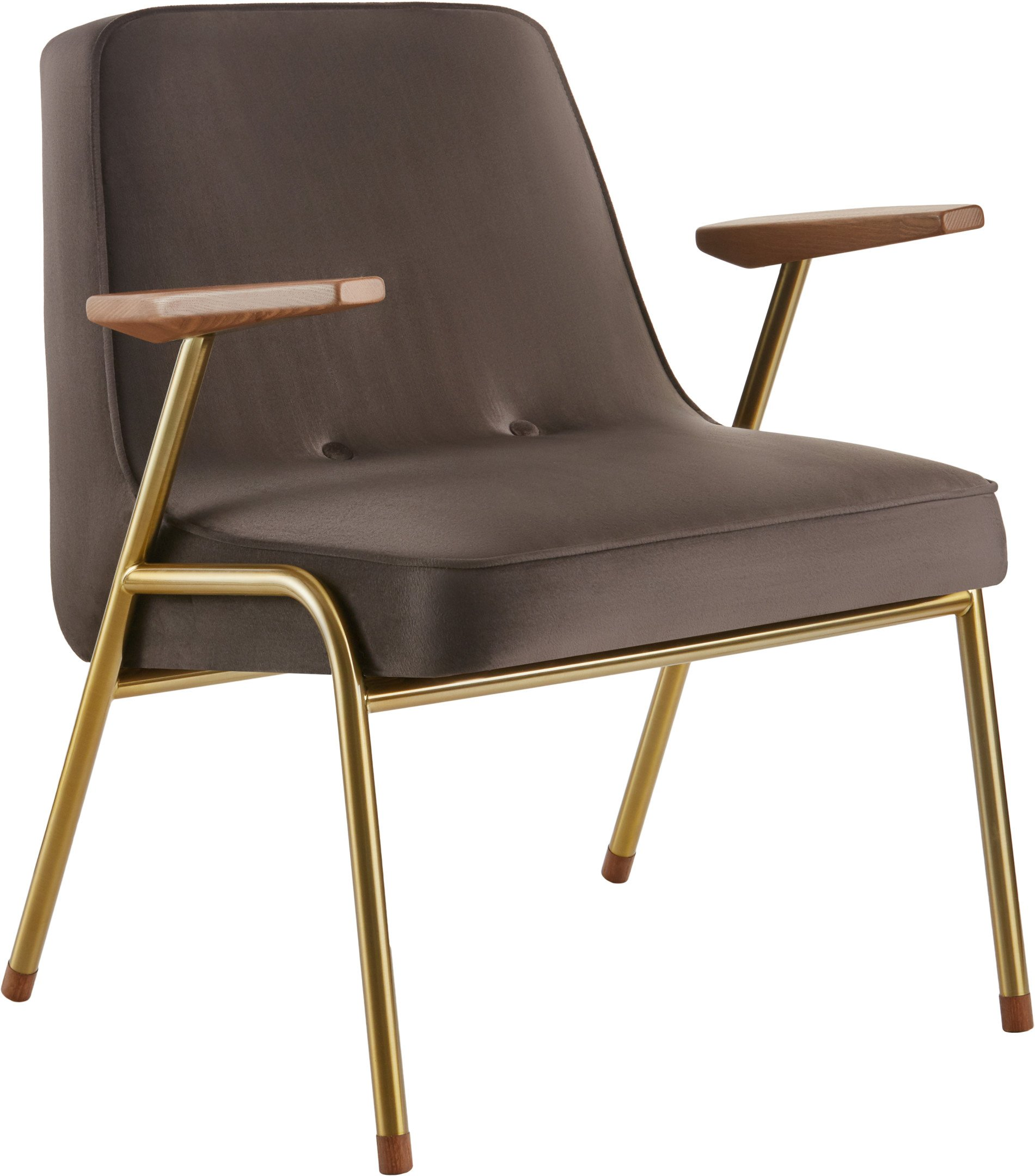 366 Armchair Metal Shine Velvet Taupe (gold) by Józef Chierowski