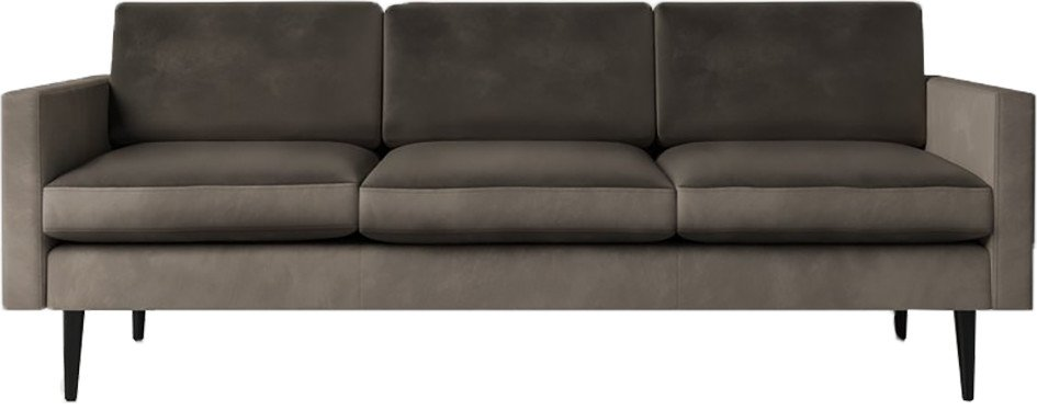Model 01 Velvet 3 Seater Sofa Elephant, Swyft