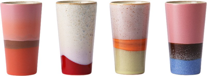 Set of 4 Ceramic 70's Latte Mugs, by HKliving