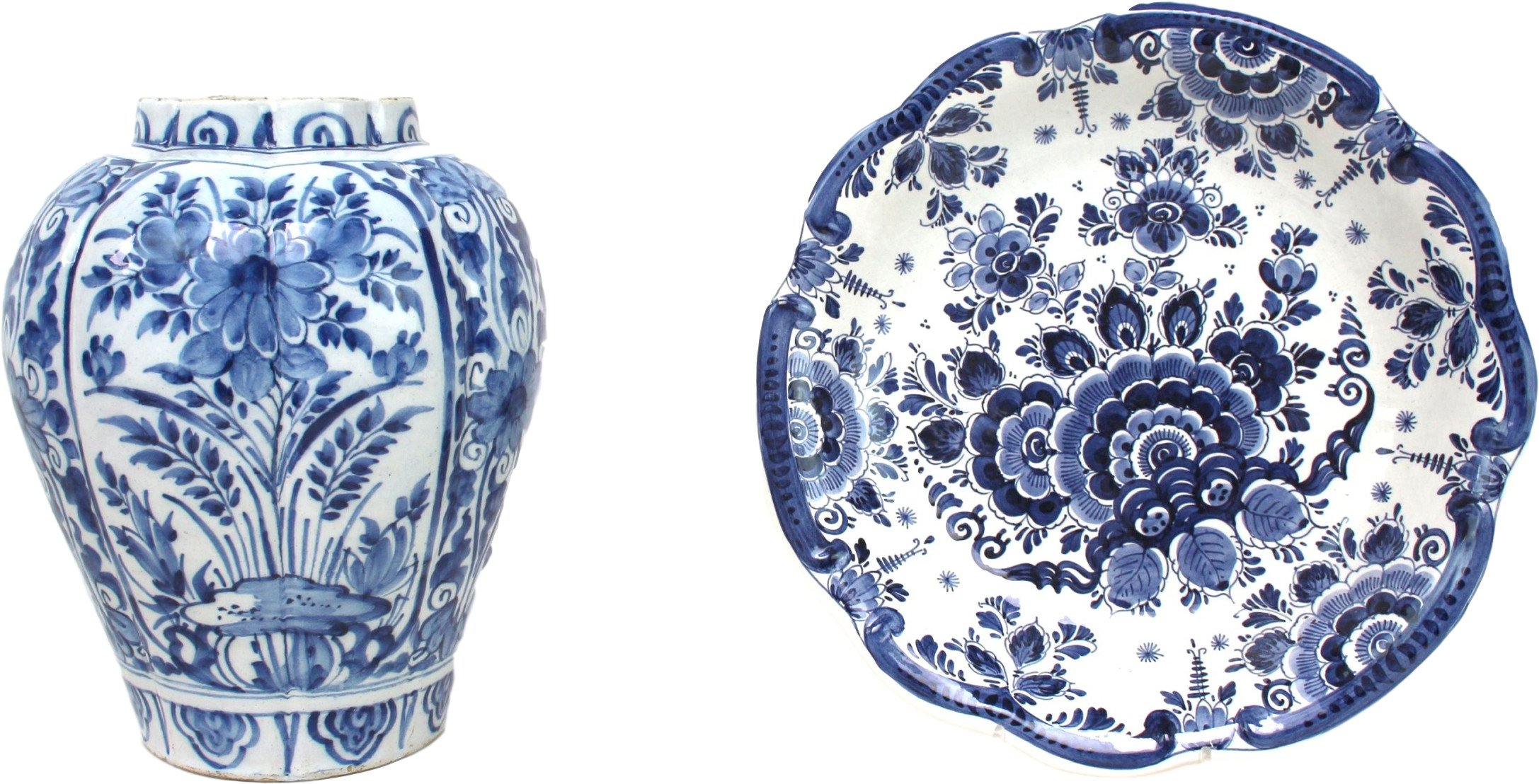 Vase and Plate, Dutch Delft, Netherlands, early 20th C.