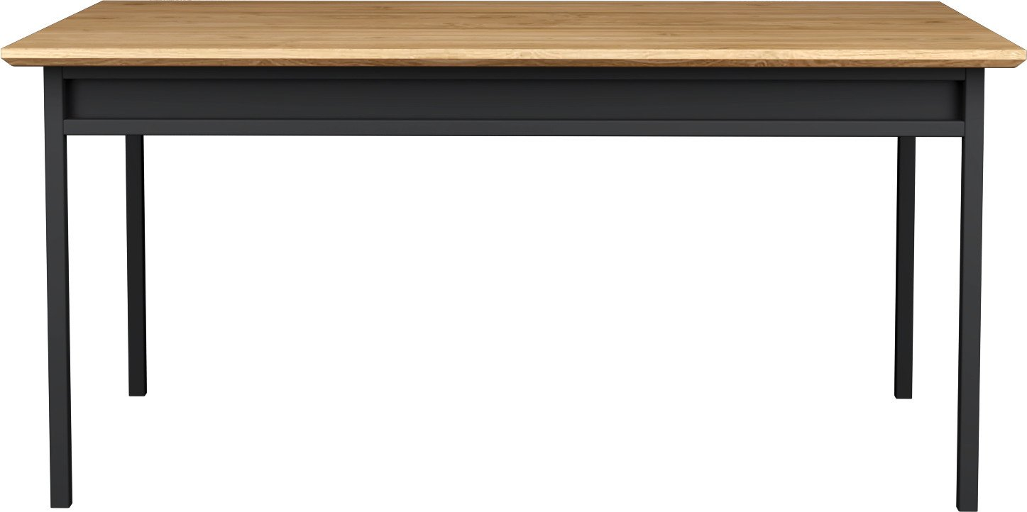 Box Dining Table 140x90 Natural Oak/Black Steel, LOFT Decora