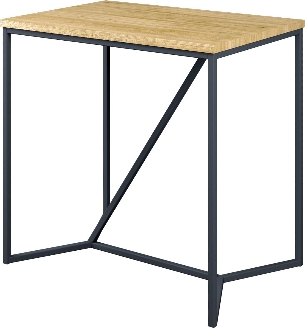 Marude Bar Table Natural Oak/Black Steel, LOFT Decora