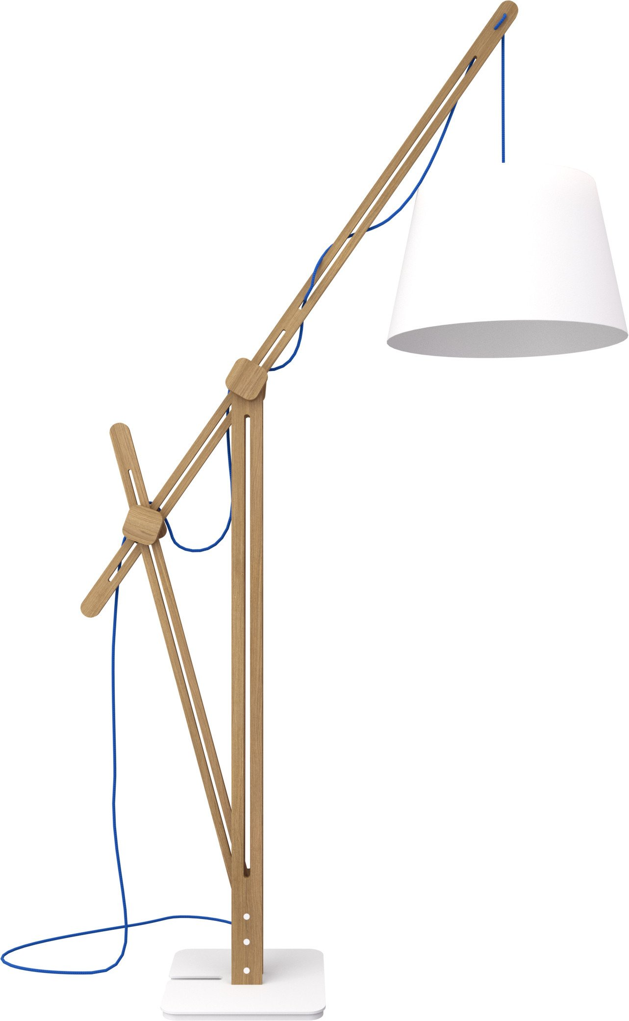 Crane Light Floor Lamp Natural Oak/White Steel/Blue Cord by J. Klimas for LOFT Decora
