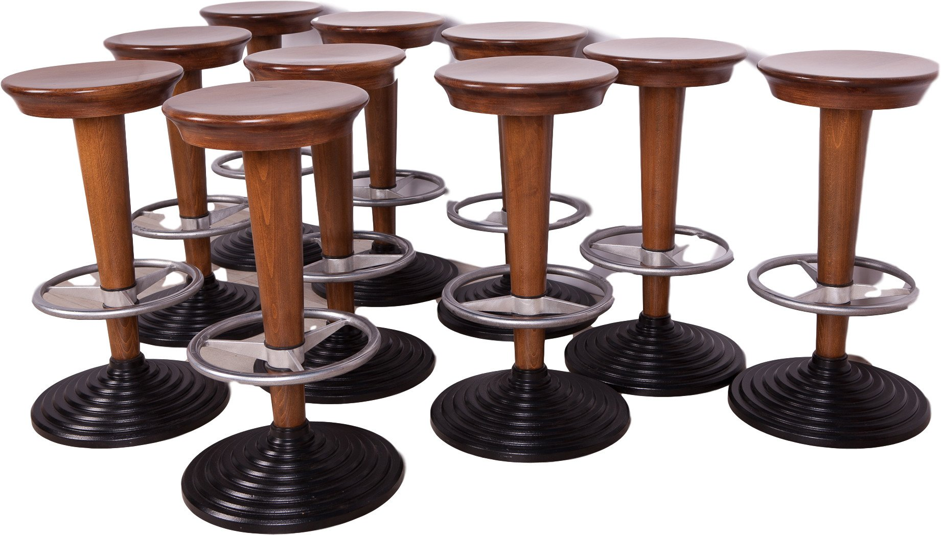 Set of Ten Bar Stools, Poland, 1950s