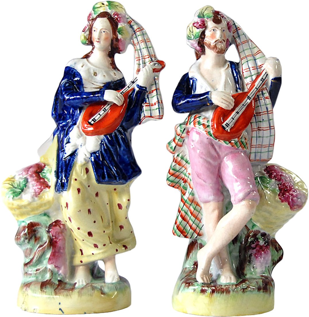 Pair of Figurines, Staffordshire, United Kingdom, 19th C.