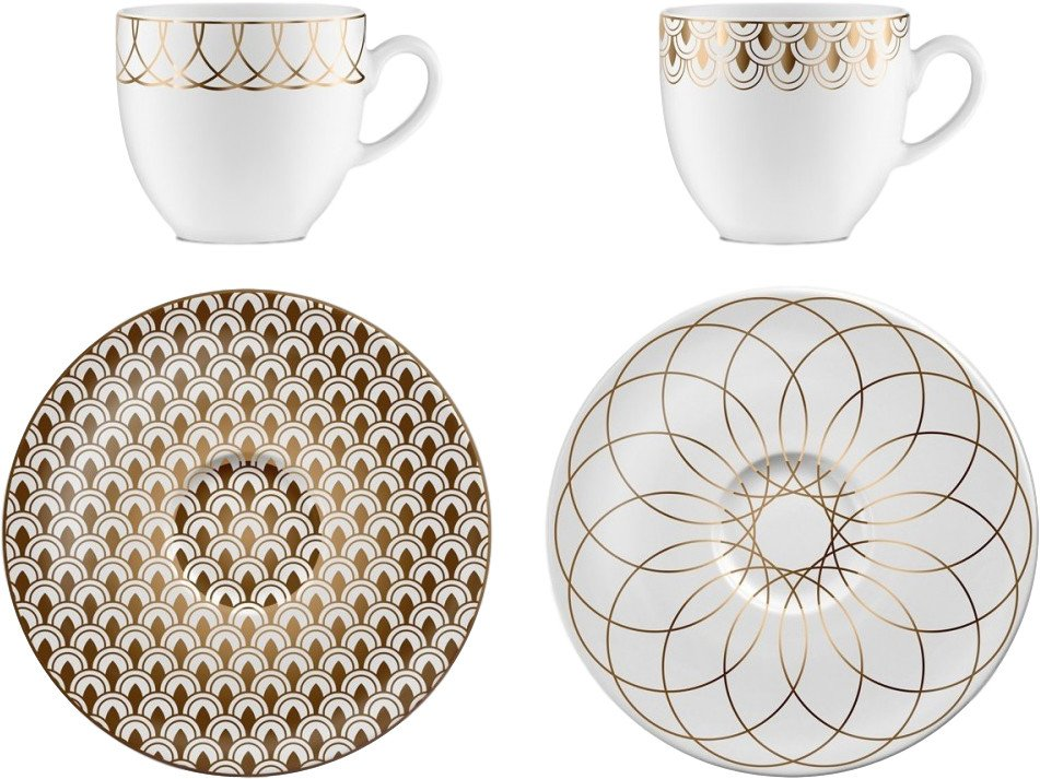 First Gold 02 Pair of Espresso Cups with Saucers by M. Młoczkowski, VOLA - 498518 - photo