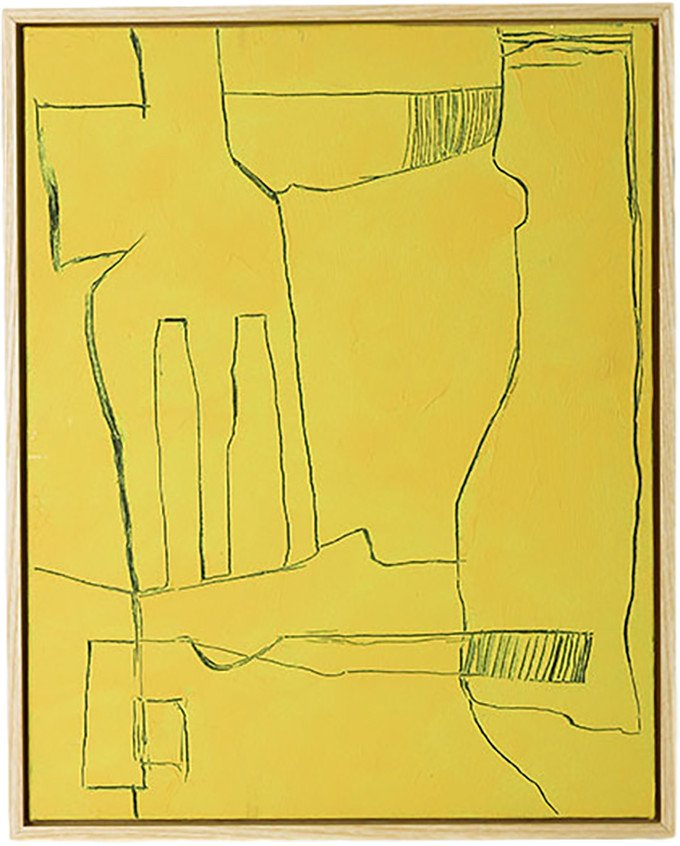 Framed Brutalism Painting Yellow 40x50, HKliving