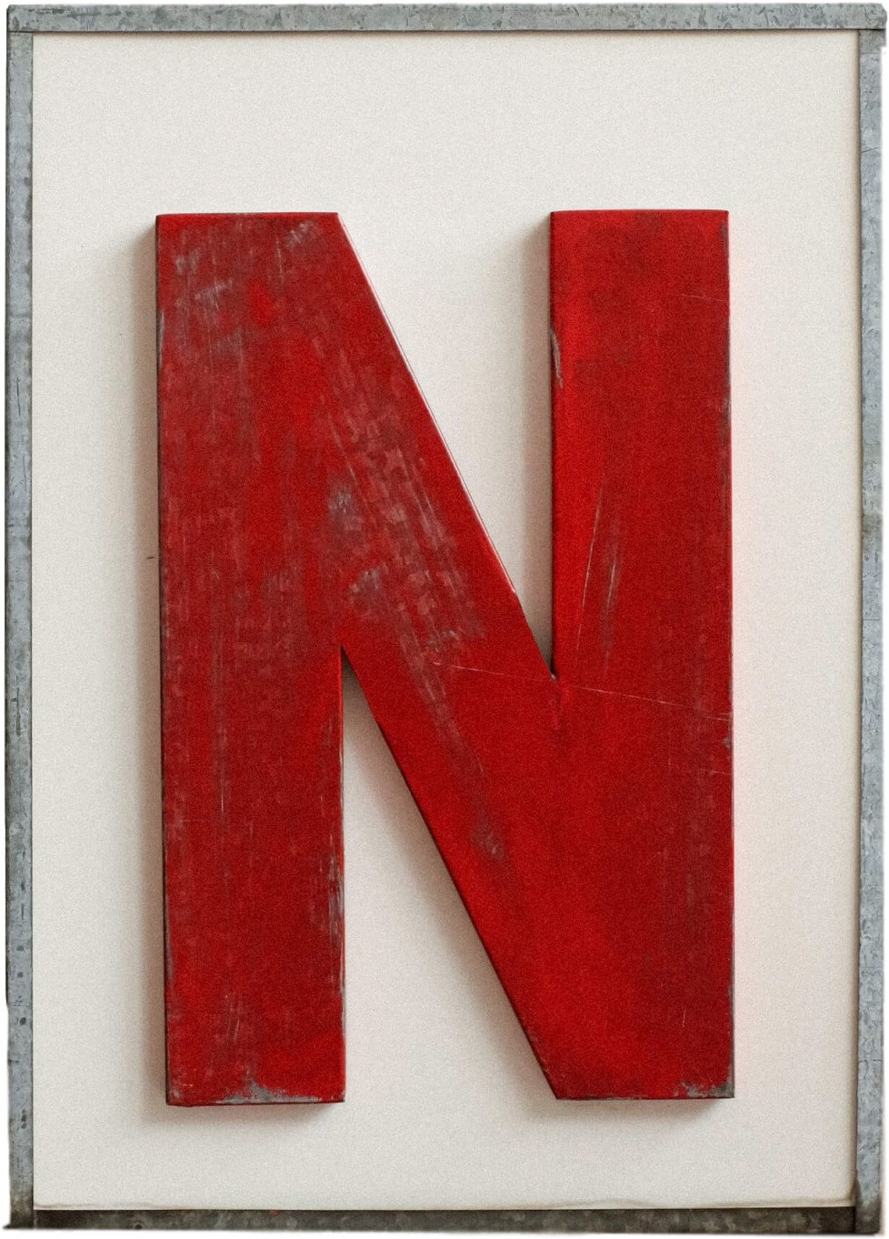 Vintage Luminous Metal Letter, Czechoslovakia, 1980s