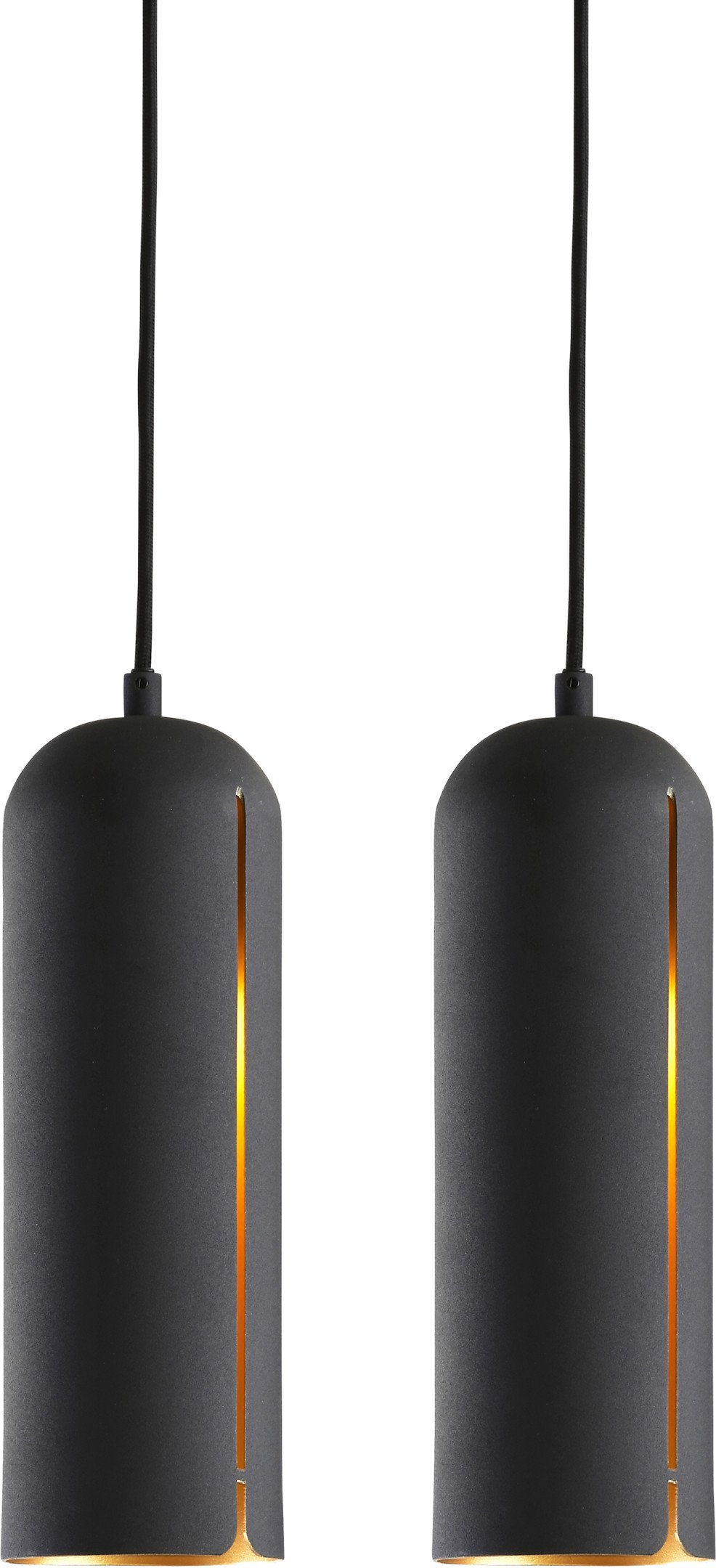 Pair of Gap Pendant Lamps Tall Black by NUR Design for WOUD