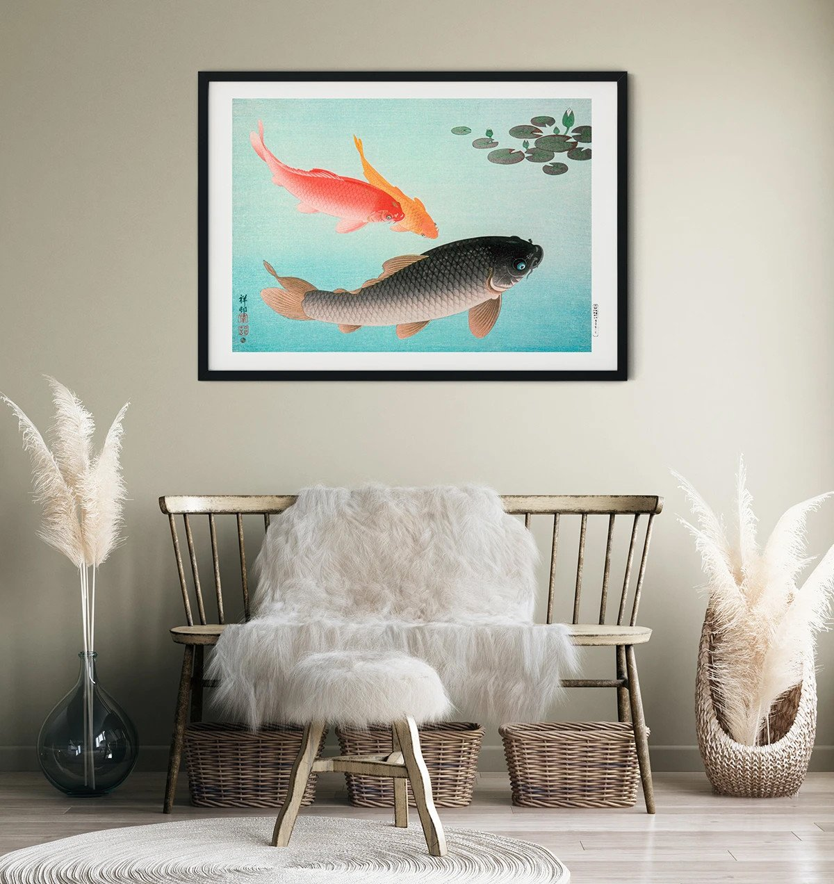 Common and Golden Carp Poster 60x42 by O. Koson - 505017 - photo