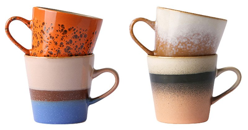 Set of 4 Ceramic 70's Mugs Americano, by HKliving