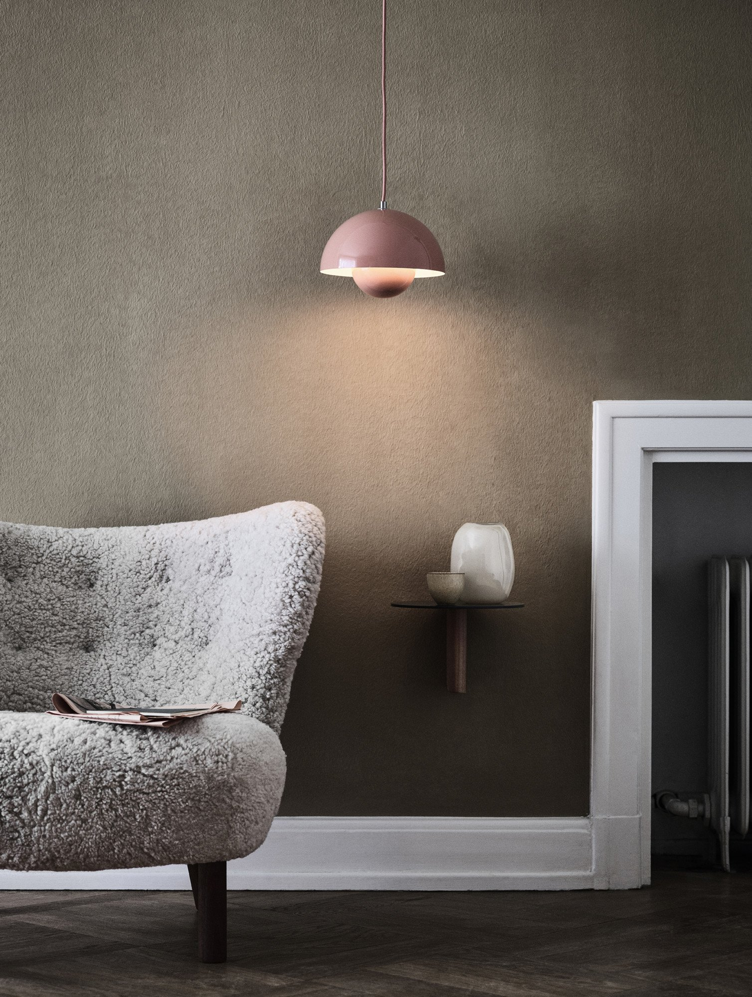 Flowerpot VP1 Pendant Lamp Grey Beige by V. Panton for &Tradition - 506862 - photo