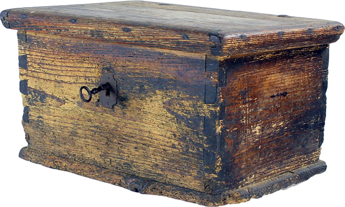 Antique Wooden Trunk With Praying Books, Czechoslovakia, 1880s