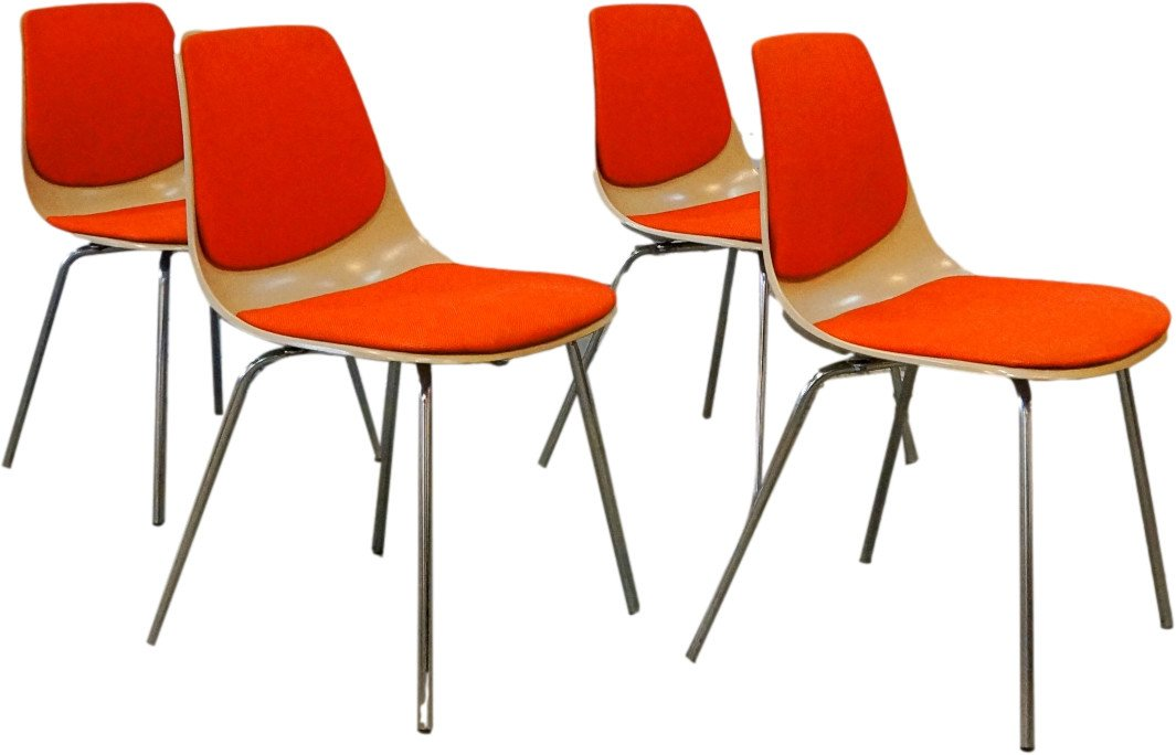 Set of Four Chairs by G. Leowald, Wilkhahn, Germany, 1960s