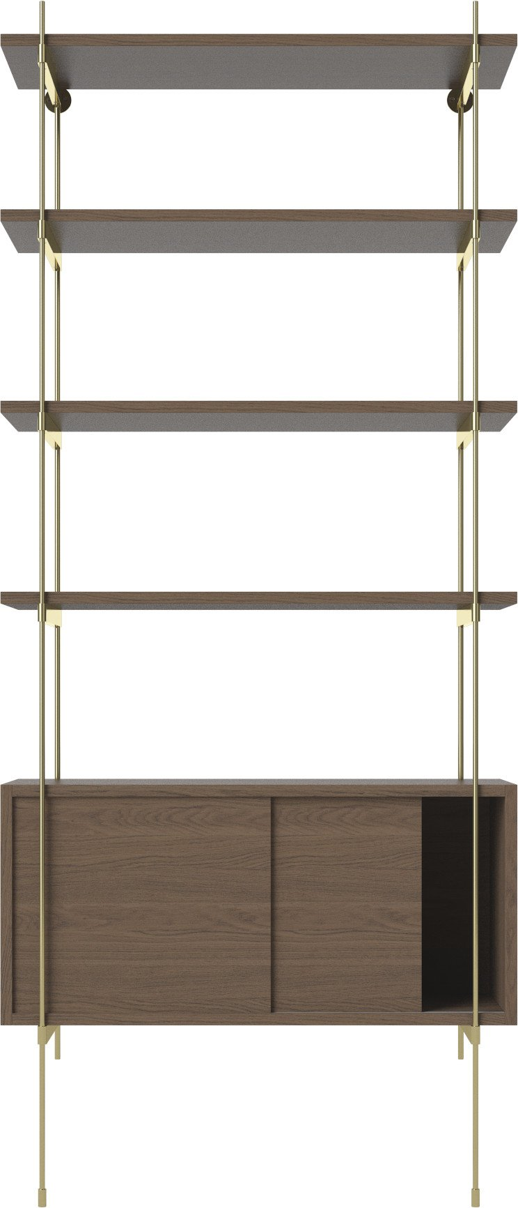 ROD Shelf Combination 05 Brass Plated Steel and Smoked Oak by Kaschkasch for Bolia - 511715 - photo